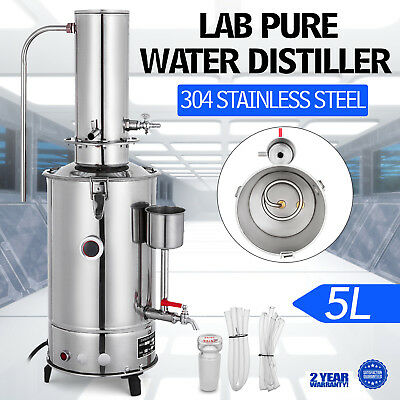 NEW 5L/H LAB PURE WATER DISTILLER STAINLESS STEEL EASY INSTALL HOME ELECTRIC