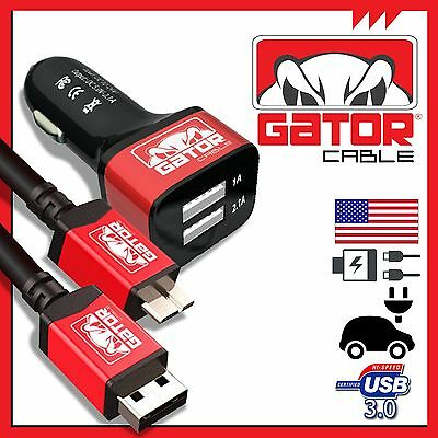 Micro USB 3.0 Gator Cable +Dual Port Car Charger Data SYNC Galaxy S5 Note 3 6FT ()