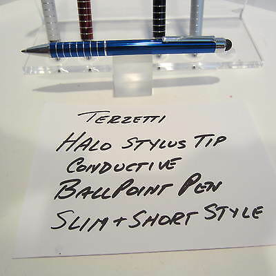 TERZETTI HALO-CT-SLIM/SHORT BLUE BALLPOINT PEN-CONDUCTIVE TOP-USE MINI REFILL Ct Slim Ballpoint Pen