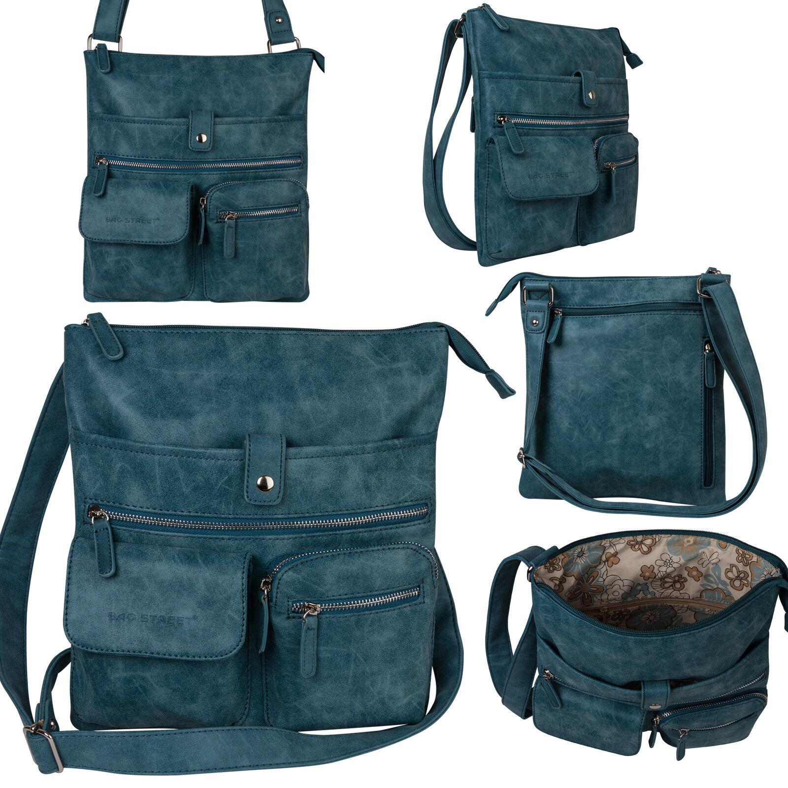 Bag Street Damentasche Umhängetasche Handtasche Schultertasche K2 T0100 Blau
