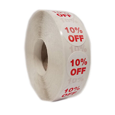 1000 Self-adhesive 10 Off Round Retail Labels 34 Stickers Tags - Dot Stickers