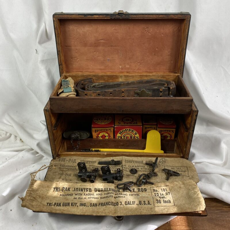 1940s Antique Gun Cleaning Box Filled As Found
