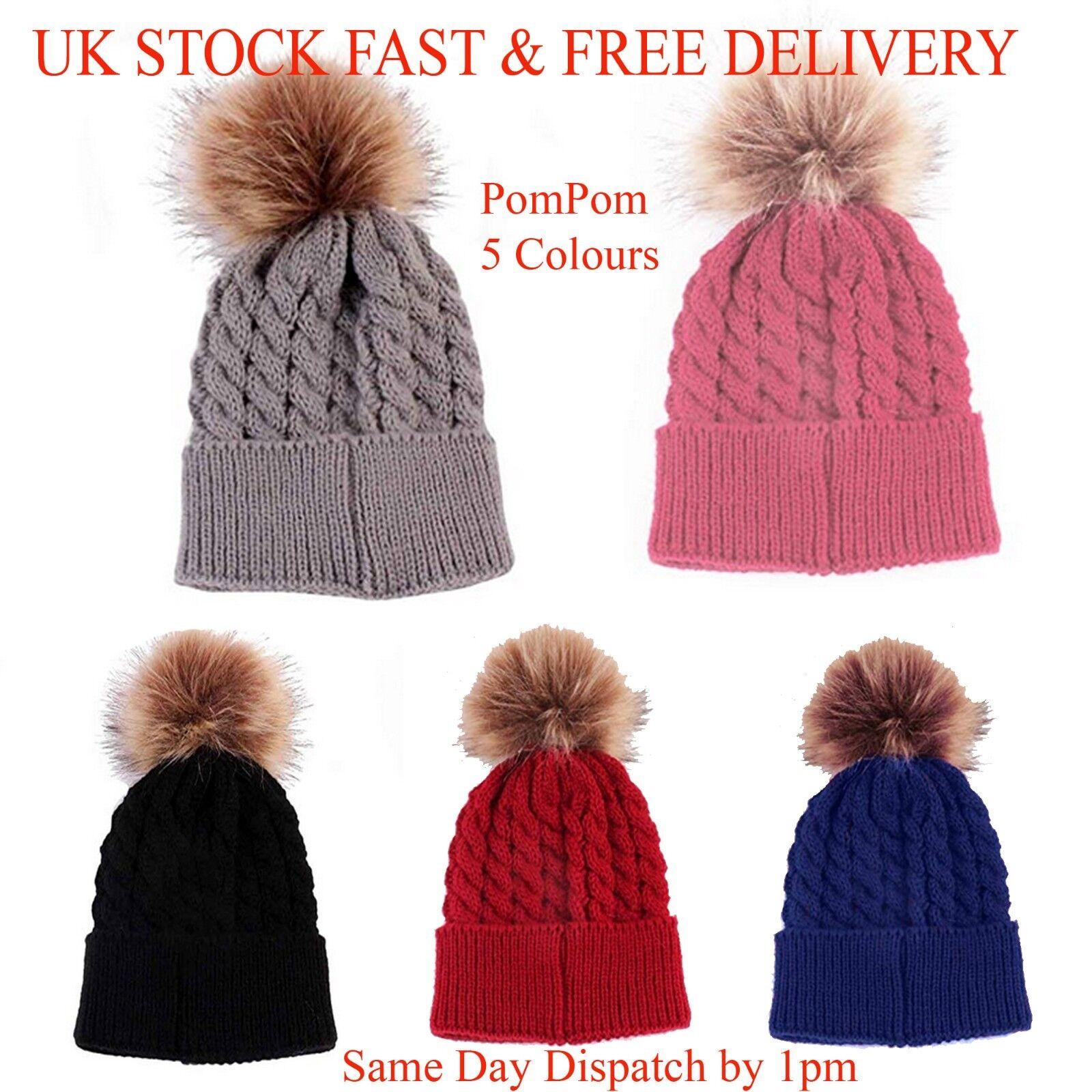 Faux de la mujer piel invierno cálido punto punto Bobble Pom Pom Beanie  Bobble holgados mullida bola Crochet esquí Cap sombrero Reino Unido STOCK 145226d9e90