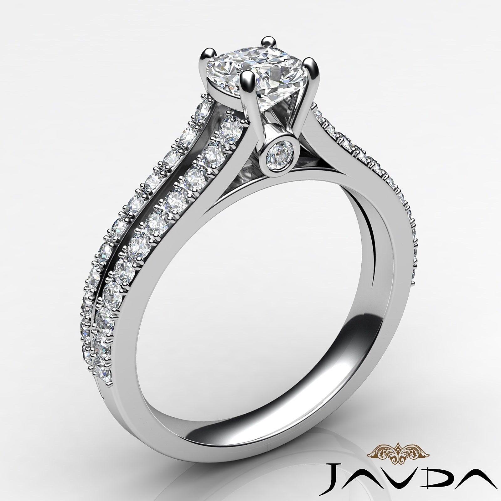 1.29ctw Double Prong Split Shank Cushion Diamond Engagement Ring GIA H-VS2  Gold 1
