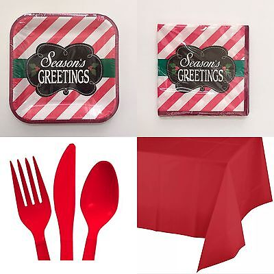 Christmas Party Set Plates Napkins Table Cover And Utensils Season Greetings](Christmas Party Plates And Napkins)