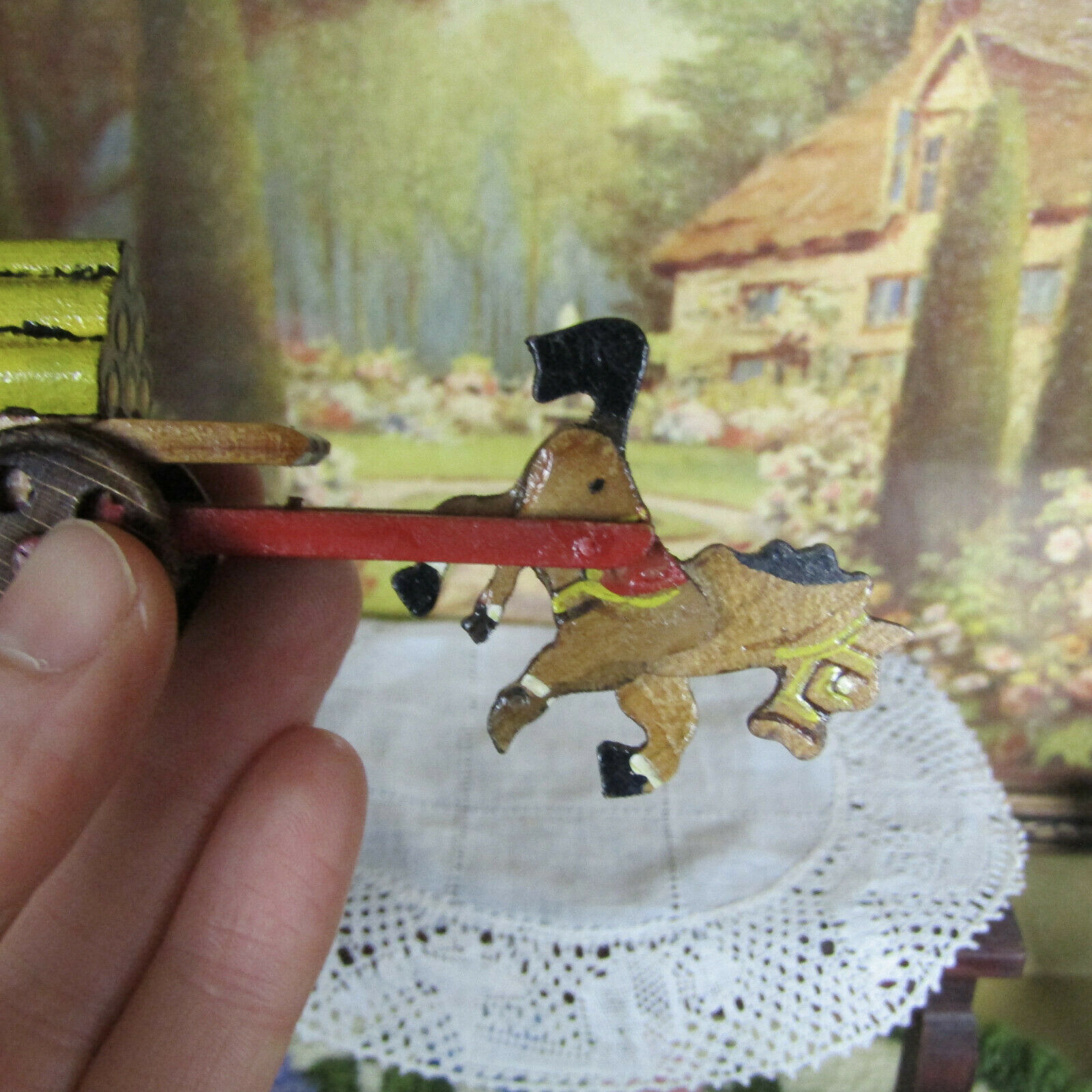 Vtg HORSE CARRIAGE CART Miniature Wood Dollhouse Toy Erzgebirge Putz Style Japan - $25.95