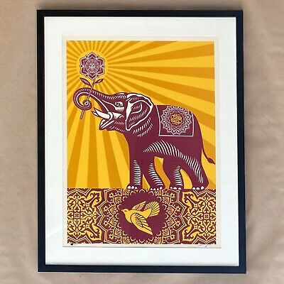 Shepard Fairey Signed Holiday Peace Elephant Framed Art Print Poster Obey Giant Giant Framed Poster
