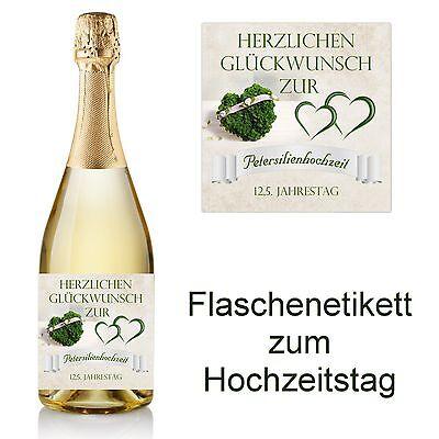 1 Flaschenetikett zum Hochzeitstag 10x10    -  12,5 Jahre Petersilienhochzeit