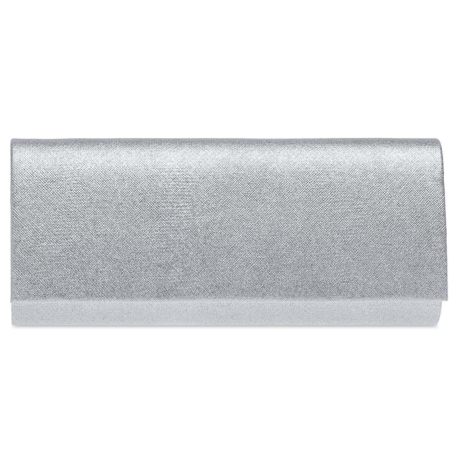 Caspar TA508 Damen Baguette Clutch Tasche Abendtasche elegant Metallic Glanz