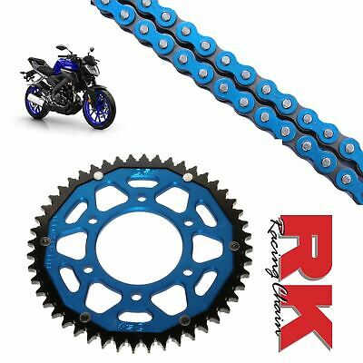 <em>YAMAHA</em> MT125 CHAIN AND SPROCKET KIT BLUE RK RACING BLUE ZF REAR SPROCK