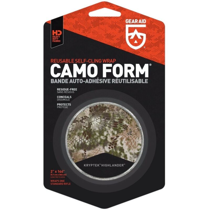 Gear Aid Camo Form Reusable Fabric Wrap Kryptek Highlander 4 Yards Self Cling