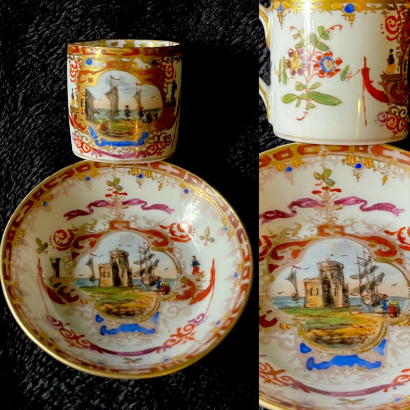 Rare Antique Dresden porcelain Harbor Scene Miniature Cup And Saucer