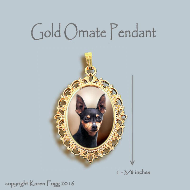 MINIATURE PINSCHER DOG Black  - ORNATE GOLD PENDANT NECKLACE