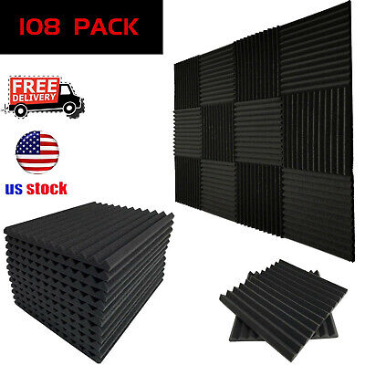 "108 Pack Acoustic Foam Panels Wedge Studio Soundproofing Wall Tiles 12""X12""X1"""