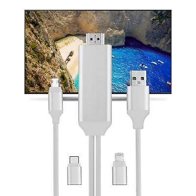 Lightning to 1080p 8Pin HDMI HDTV AV TV Adapter Cable Cord For iPhone 6/7/8/x US