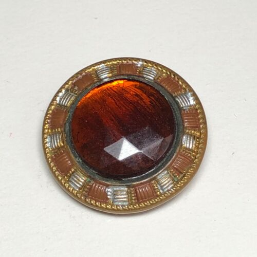 Faceted Orange Glass Set in Metal With Fancy Silver and Gold Border