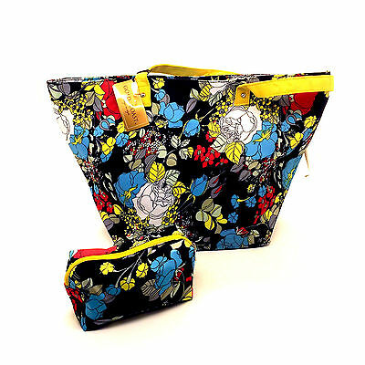 Gold Coast Floral Print Beach Sack Beach Bag with matching Makeup Case NEW - Floral Print Beach Bag