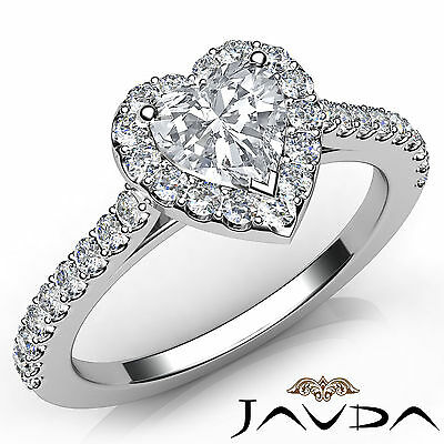 Halo Prong Setting Heart Shape Diamond Engagement GIA Certified G Color VVS2 1Ct