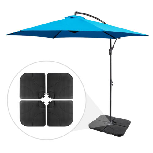 4-Piece Heavy Duty Cantilever Offset Patio Umbrella Stand Square Base Plate Set Garden Structures & Shade