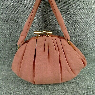 1940s Handbags and Purses History Vintage Pleated Crepe Evening Bag Purse Dusty Rose Pink Kiss Closure 30's 40's $32.37 AT vintagedancer.com