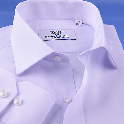 Business Professional White Cotton & Polyester Easy Iron Formal Dress Shirt -
