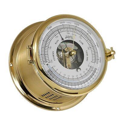 Schiffsbarometer groß mit Thermometer klassisch Schatz Royal messing 180mm