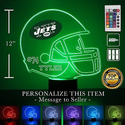 New York Jets NFL Football Personalized FREE Night Light 3D Illusion LEDLight (Personalized Footballs)