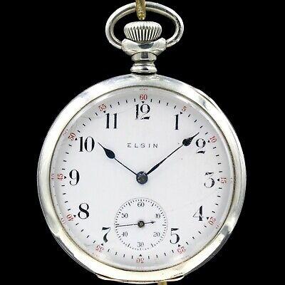 1899 ELGIN Mechanical Pocket Watch Grade 157 7 Jewels Large 16s Antique USA
