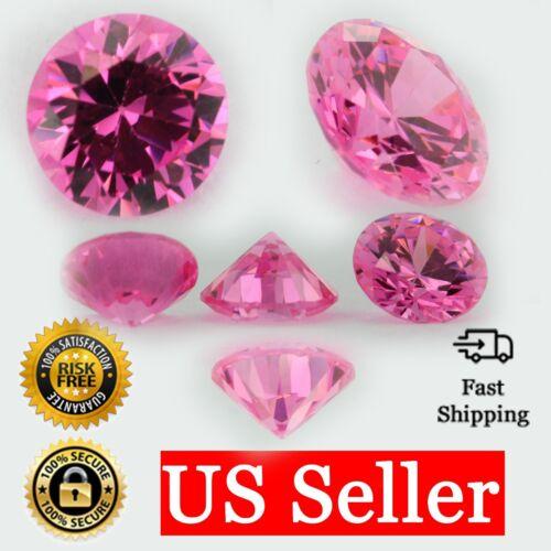 Loose Round Cut Shape Pink Sapphire CZ Stone Single Cubic Zirconia Birthstone
