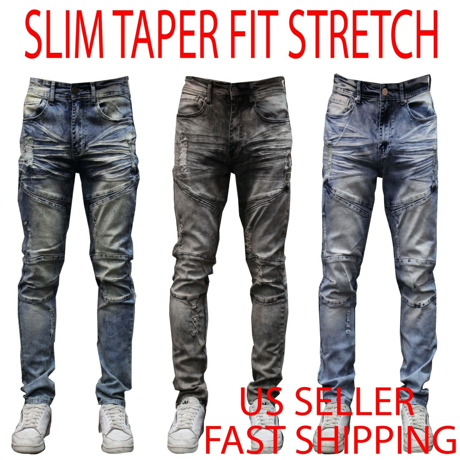 MEN Jeans SLIM FIT TAPERED STRETCH JEAN biker ripped Pants Z