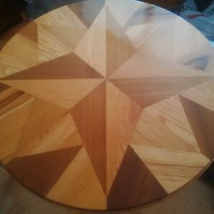 Unique round wooden dining table