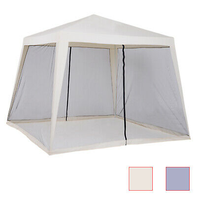 10' x 10' Folding Slant Leg Screened Sun Shelter Canopy Tent with Mesh Sidewalls