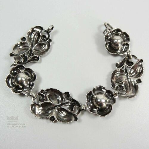 Vintage Sterling Silver 925 Flower and Leaf Bracelet  *W1G2