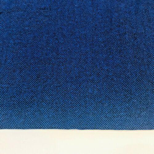 Vintage Wool Fabric Herringbone Upholstery Blue Black Drapes Jacket Suit Dress
