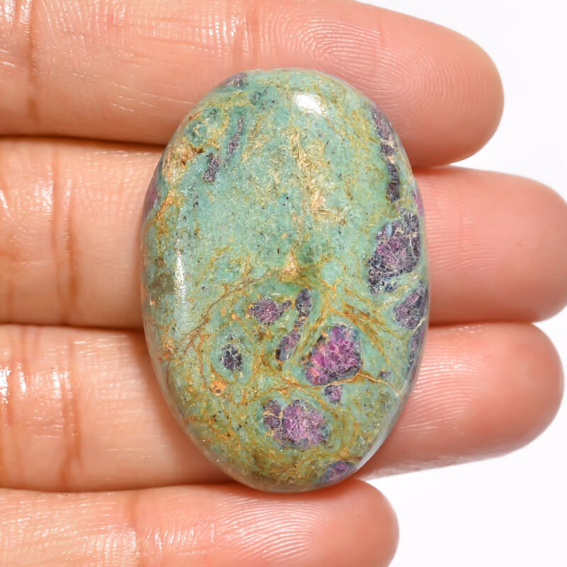 Natural Ruby Fuchsite Oval Cabochon Loose Gemstone 52.5 Ct. 35X24X7 mm EE-19124