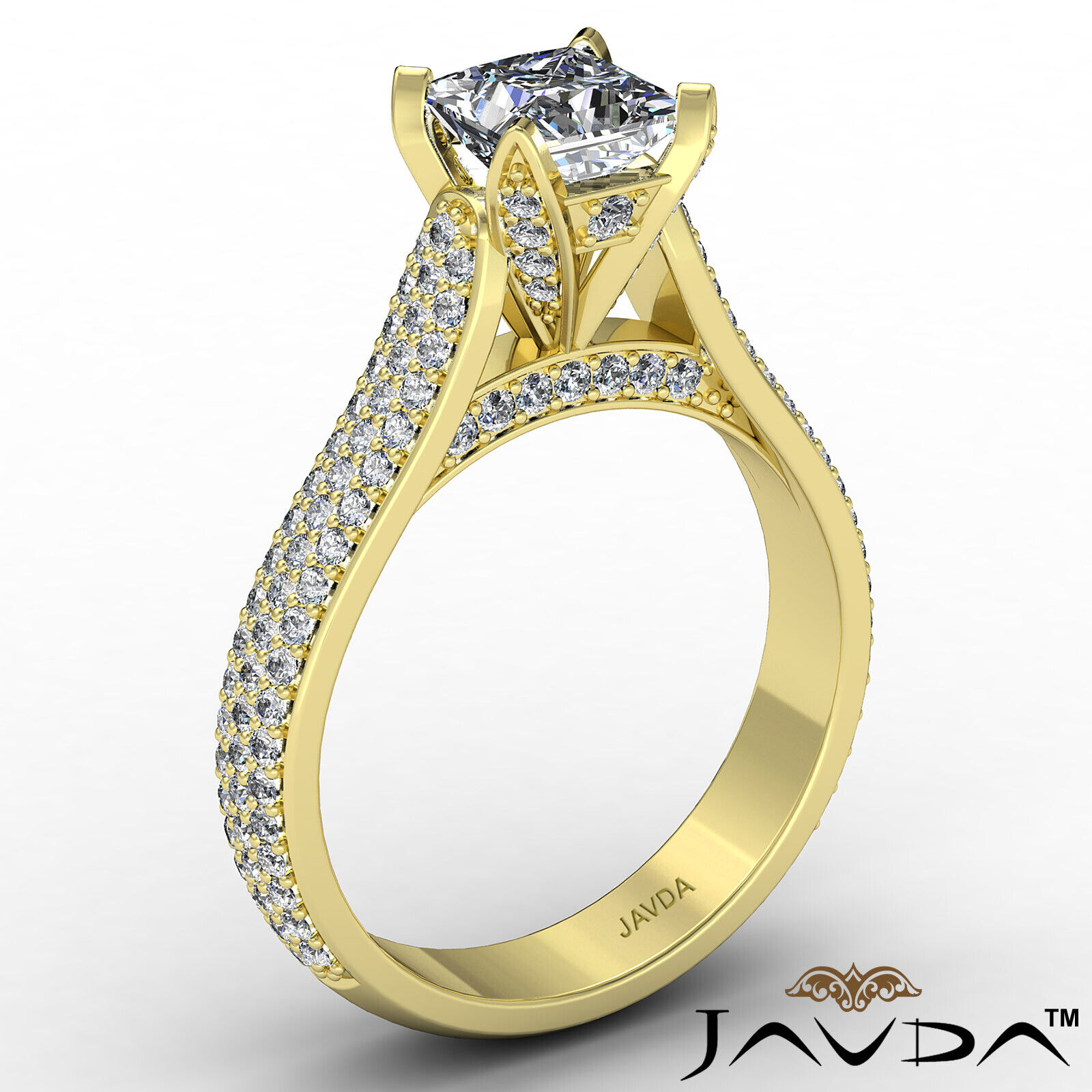 Princess Diamond Engagement Micro Pave Ring GIA E Color & SI1 clarity 1.95 ctw 4