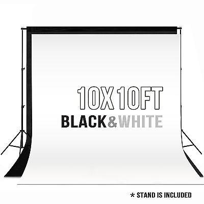 10 x 10 ft Photography Backdrop Stand Background Photo Kit Muslin Black & White
