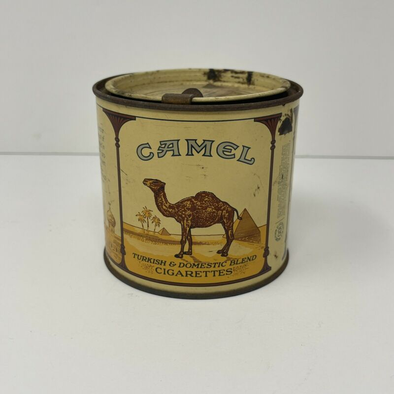 Vintage CAMEL CIGARETTE CANISTER with LID TAB