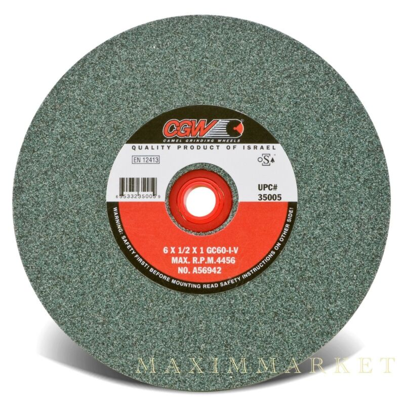 """CGW 6""""X1/2""""X1"""" Green Silicon Carbide Straight Grinding Wheel Grit-60, 80 or 100"""