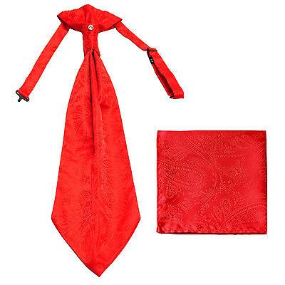 New men's polyester ASCOT cravat neck tie & hankie set Red Paisley prom