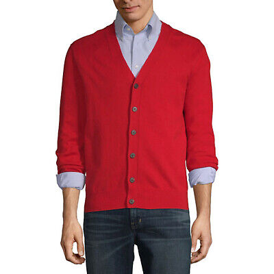 Men's Red Cardigan Sweater Top Shirt Fred Mister Rogers Halloween Costume S M - Mister Rogers Halloween