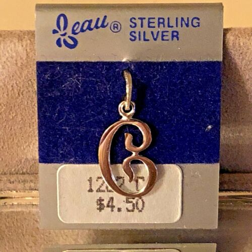 """NEW VTG Sterling Silver Beau Initial """"C"""" Charm Pendant 3/4"""" On original card"""
