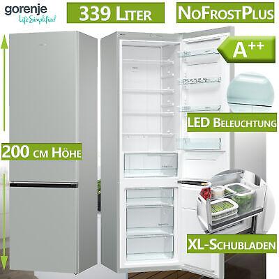 A++ Kühl Gefrierkombination Kühlschrank NoFrost graumetallic freistehend