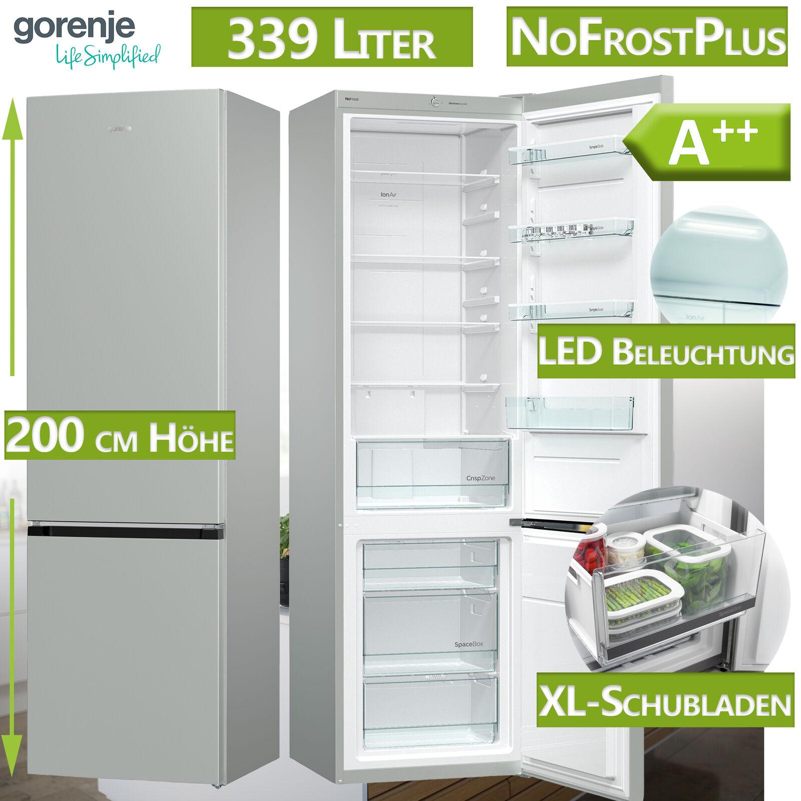 A++ Kühl Gefrierkombination Kühlschrank NoFrost graumetallic freistehend Gorenje