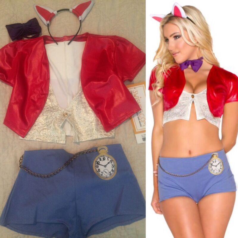Sexy Storybook Rabbit Bunny Halloween 5 Piece Costume 3 Wishes Size XS *NEW*