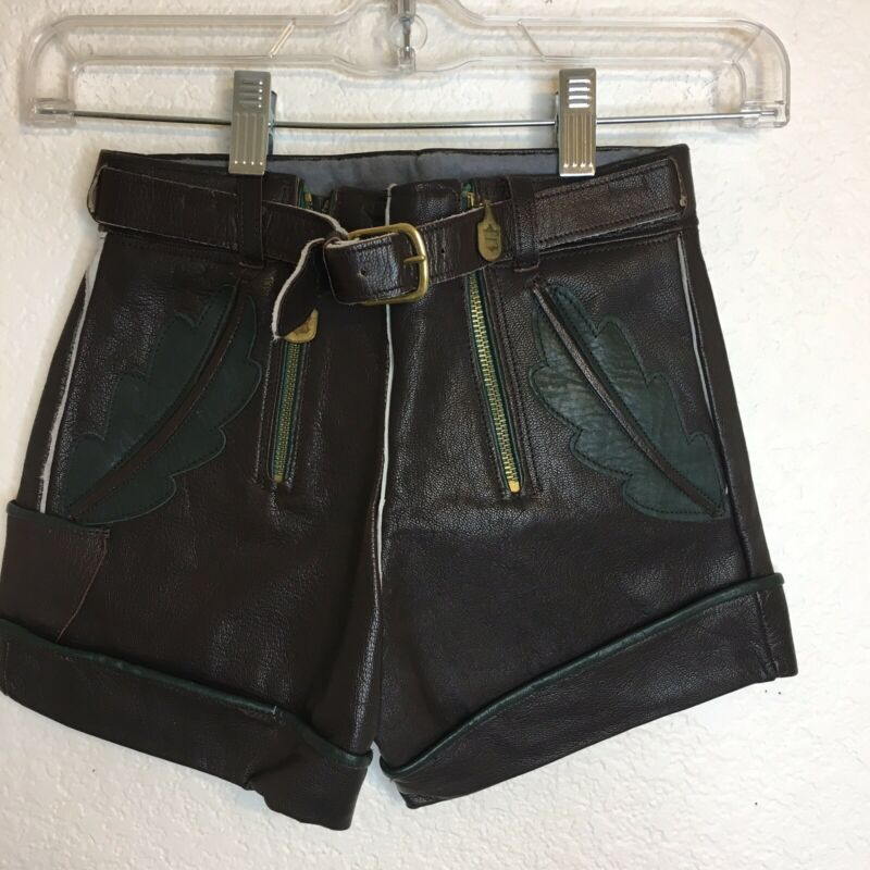 German Lederhosen Leather  Boys  Brown Shorts 4 Oktoberfest