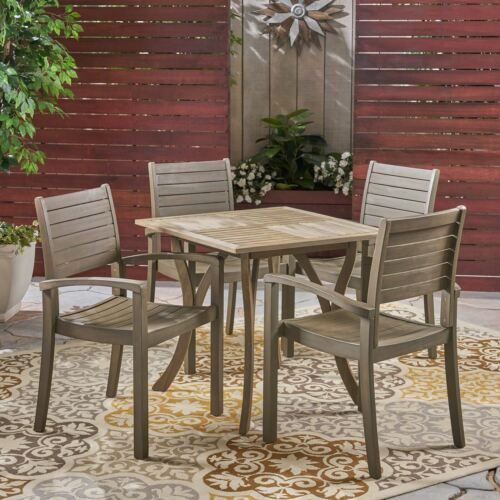 Carr Outdoor 4-Seater Square Acacia Wood Dining Set, Gray Finish Home & Garden