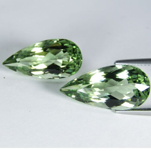 19.00Cts Elegant Natural Green Amethyst prasiolite Pear Shape Matching Pair VDO
