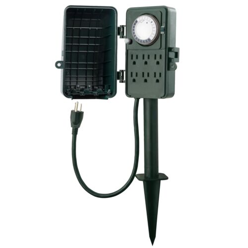 BN-LINK Outdoor Mechanical Timer Multi Outlets Yad Garden Power Stake Waterproof