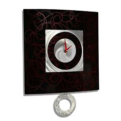Black Modern Abstract Metal Wall Art Decor - Red Controlled Chaos Pendulum Clock